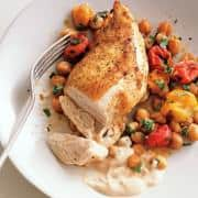 Roast Chicken Breasts with Garbanzo Beans, Tomatoes, and Paprika