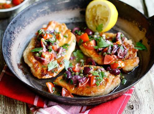 Chicken Escalopes with Olive, Caper
