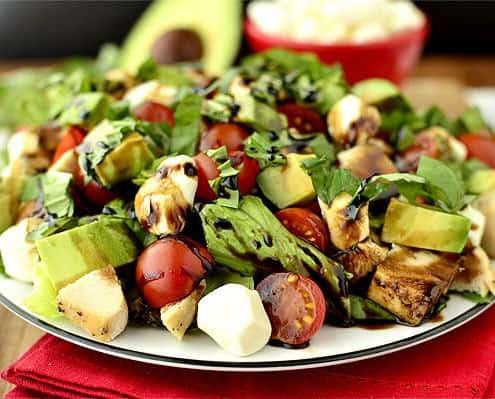 Avocado Chicken Caprese Salad