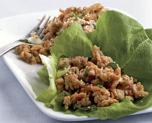 Thai Style Spicy Chicken in Lettuce Cups