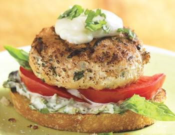 Open-Face Chicken Burgers with Basil Mayonnaise - Crescent ...