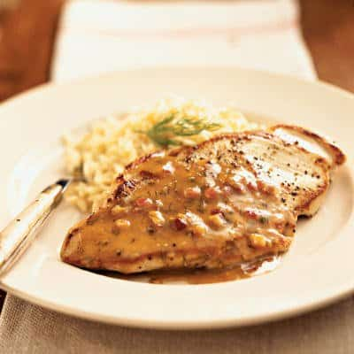 Pan-Roasted Chicken Cutlets with Maple-Mustard Dill Sauce​