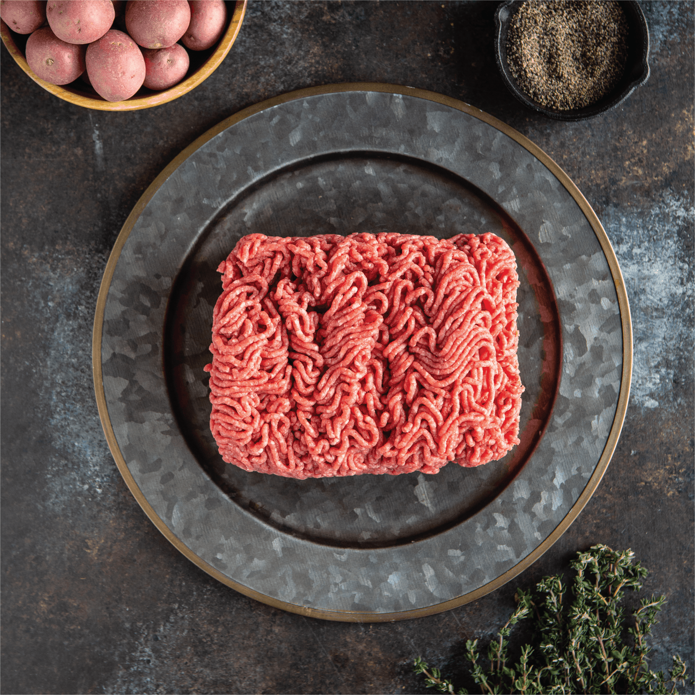 Crescent Foods Premium Halal Angus Lean Ground Beef on a plate
