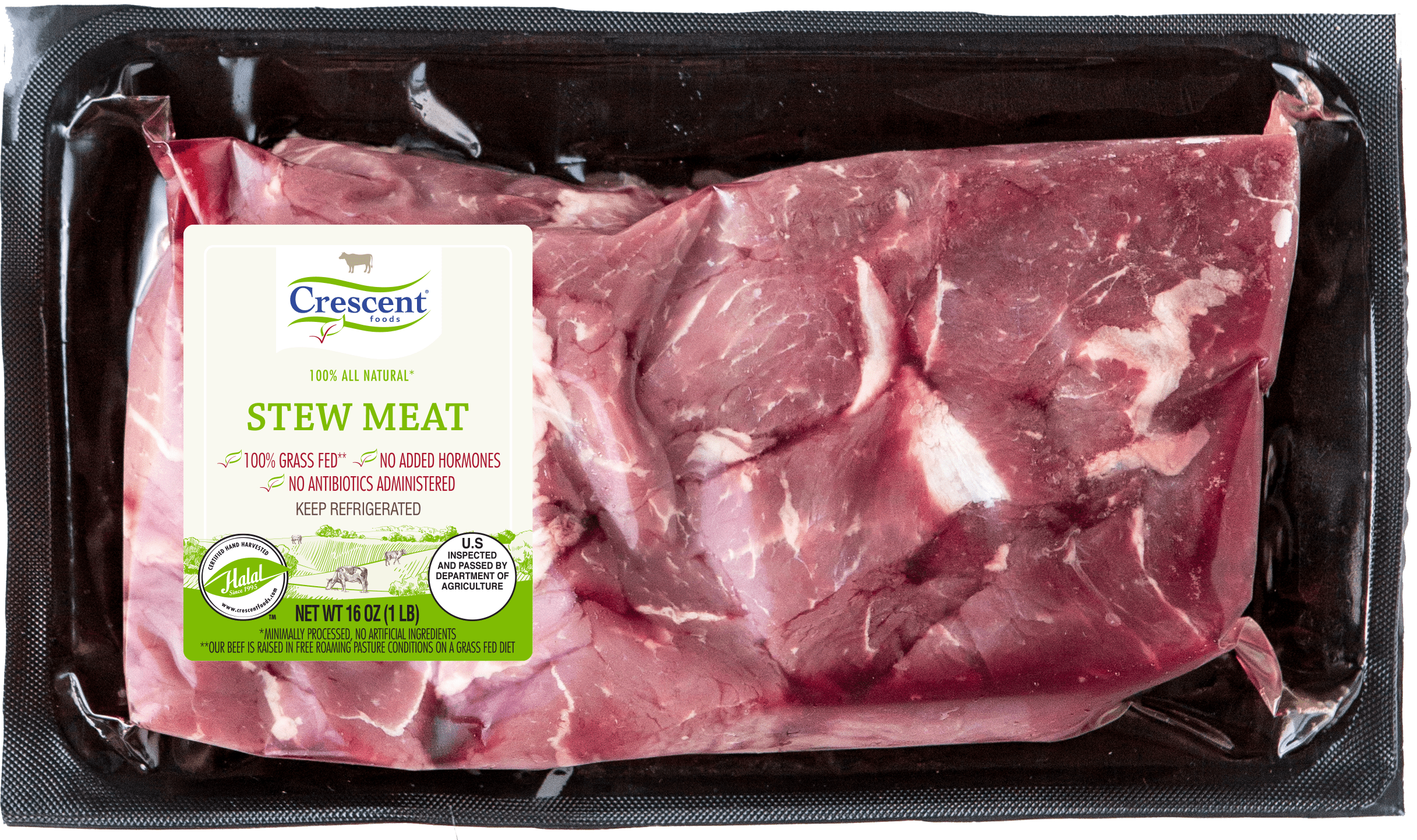 Crescent Foods Premium Halal Hand-Cut™ Angus Beef Stew in package