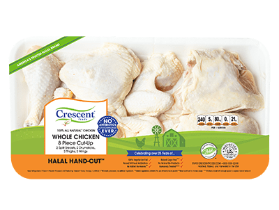 Crescent Foods Premium Halal Hand-Cut™ Whole Chicken 8 Piece Cut Up in package