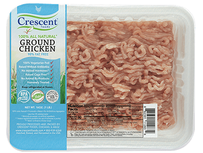 Crescent Foods Premium Halal Hand-Cut™ Ground Chicken in Packaging