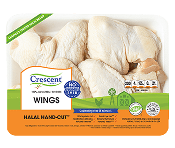 Crescent Foods Premium Halal Hand-Cut™ Chicken Wings in packagin
