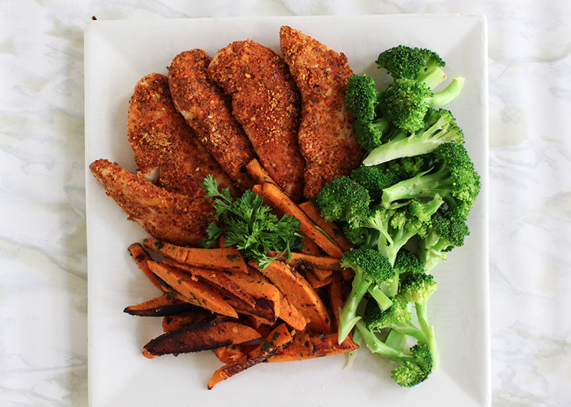 Cajun Chicken with Sweet Potato Fries and Steamed Broccoli