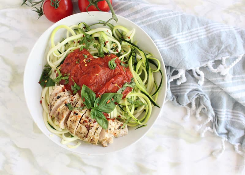 The image shows the Herbed Chicken with Zoodles in a white bowl.