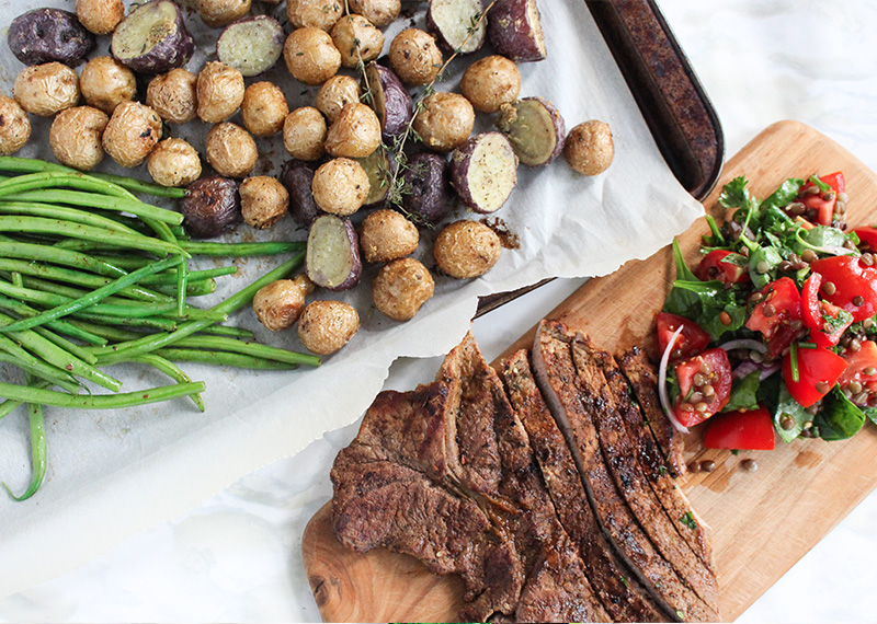 Steak, Baby Potatoes with Tomato Lentil Salad