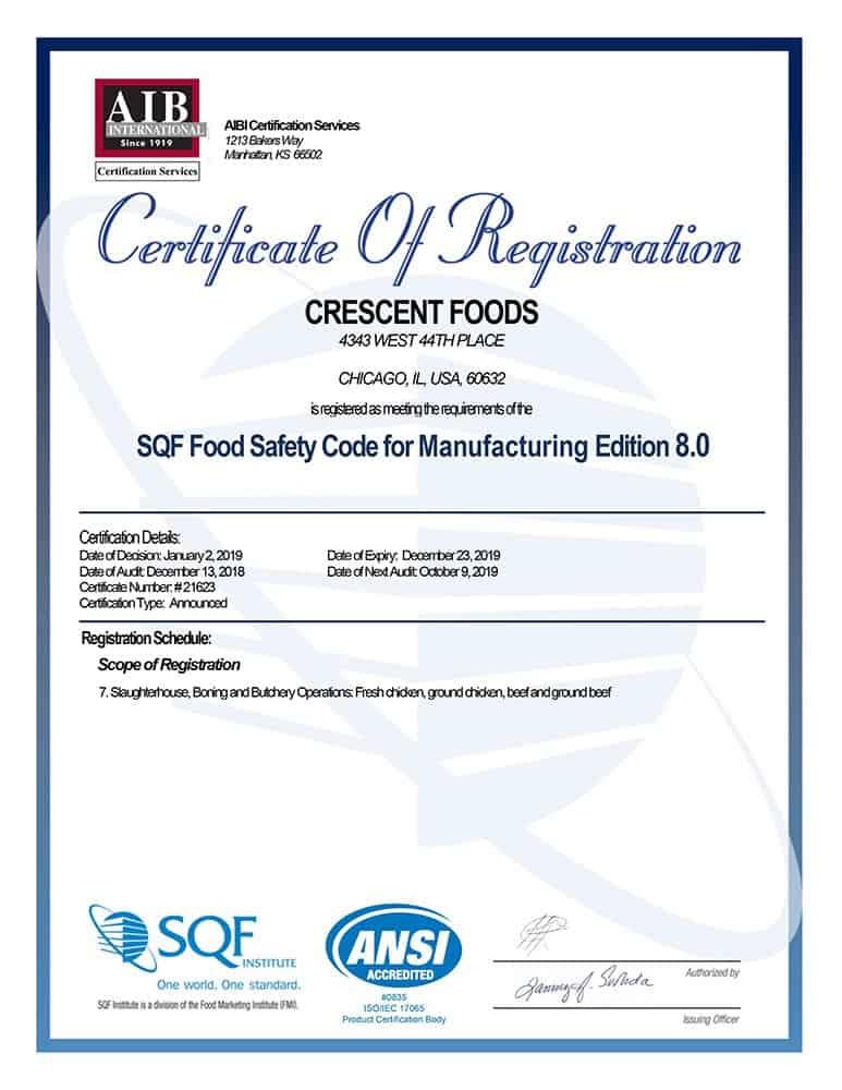 Crescent Foods Standards and Procedures - Crescent Foods