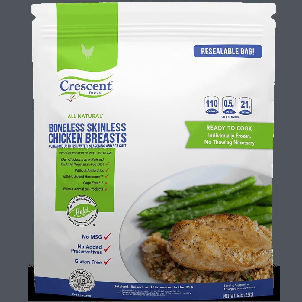 Individually Frozen Boneless Skinless Chicken Breast in Packaging