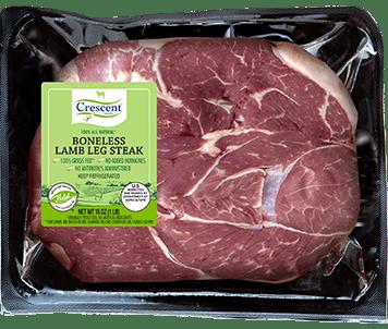 Crescent Foods Premium Halal Hand-Cut™ Boneless Lamb Leg Steak in package