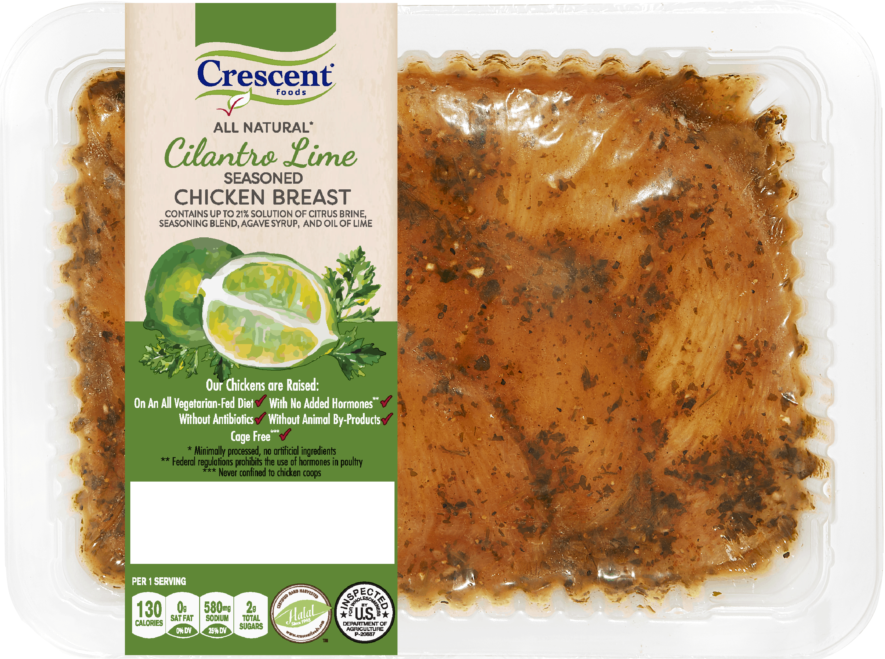 Crescent Foods Premium Halal Hand-Cut™ Cilantro Lime Seasoned Chicken Breast in packaging