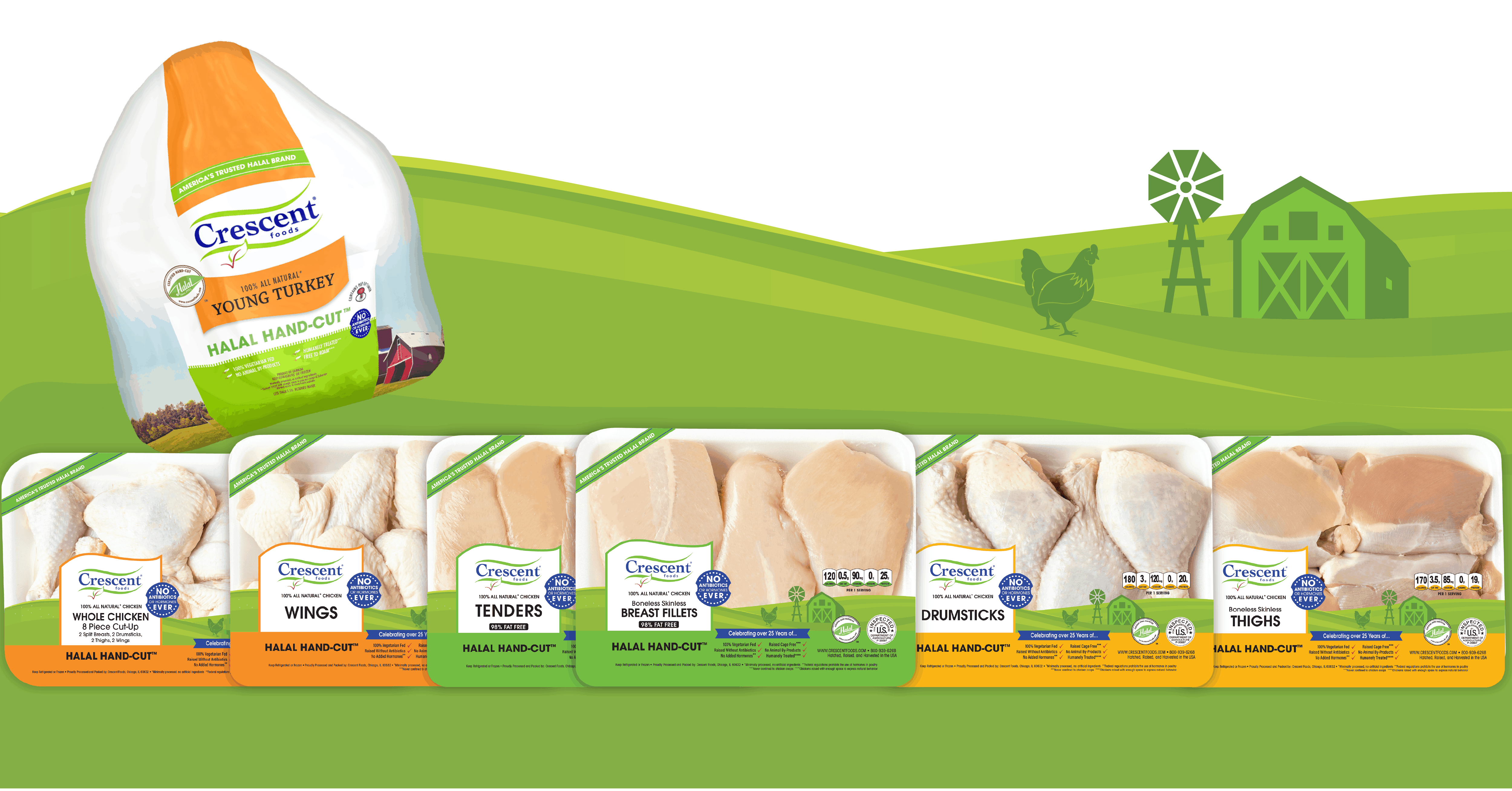 Image shows lineup of chicken packaging and turkey packaging in front of green rolling hills and a green barn